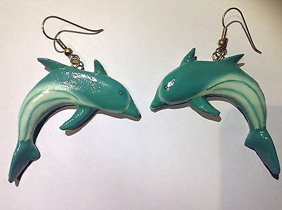 Large Dolphin Earrings (Vintage Dolphin Fashion Earrings Animal Blue Long Drop Dangle Estate Large Art )
