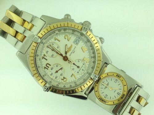Breitling Chronomat Mens Wrist Watch Two Tone 18k & Stainless With Two Tone Utc