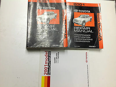 2001 Toyota TACOMA TRUCK Service Shop Repair Manual SET W New Car Features Book