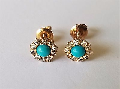 Antique Victorian 14K Yellow Gold Turquoise Diamond Earrings