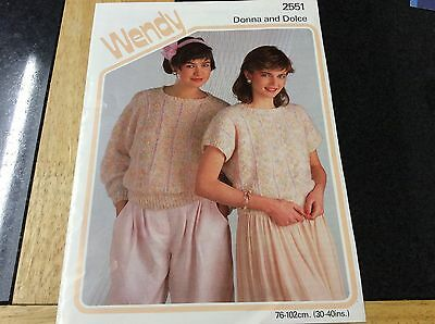 Vintage Wendy Ladies Short and long sleeved sweater knitting pattern
