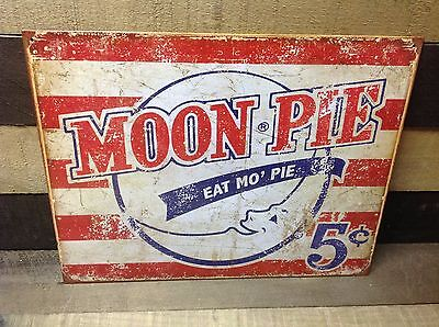 MOON PIE EAT MO PIE 5 CENTS Sign Tin Vintage Garage Bar Decor Old Rustic