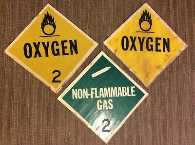 Vintage Used Truck Placard Gas Warning Signs Lot Oxygen Non Flammable Is-560