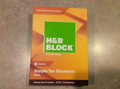 H&R Block Basic 2018 Simple Tax Software CD/Download Federal New, Sealed Case  (Tax Software Download)