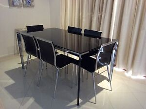 Dining table 90 x 160 with six chairs. Wishart Brisbane South East Preview