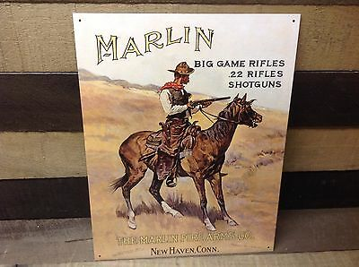 MARLIN FIREARMS Big Game Rifles Co Sign Tin Vintage Garage Bar Decor Old Rustic