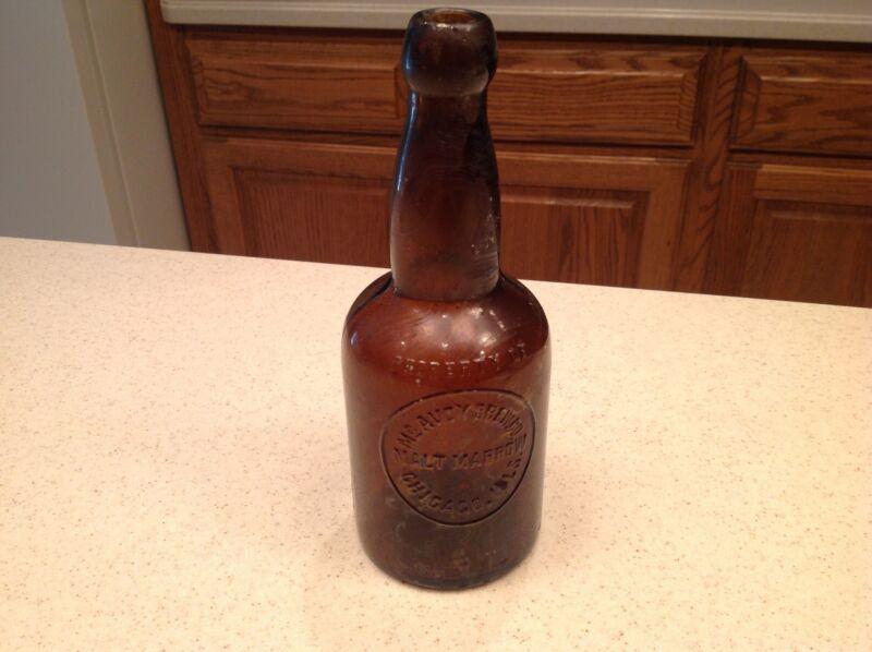 RARE TOP Hand Blown Brown Glass Beer Bottle Mc Avoy Brewing Chicago Malt Marrow