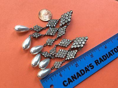 Runway Designer chandelier Diamond rhinestones crystals faux pearl earrings 3