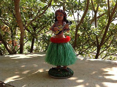 New Hawaiian  Dashboard Hula Doll Dancer Girl Posing Green # 40606