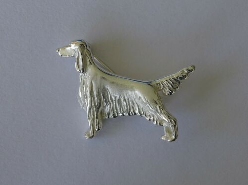 Large Sterling Silver Irish Setter Standing Study Brooch