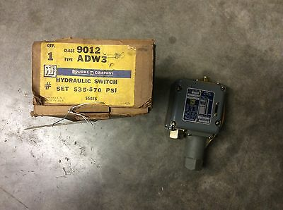Square D Class 9012 Type ADW3 Hydraulic Switch Set 535-570PSI 1538B4G2