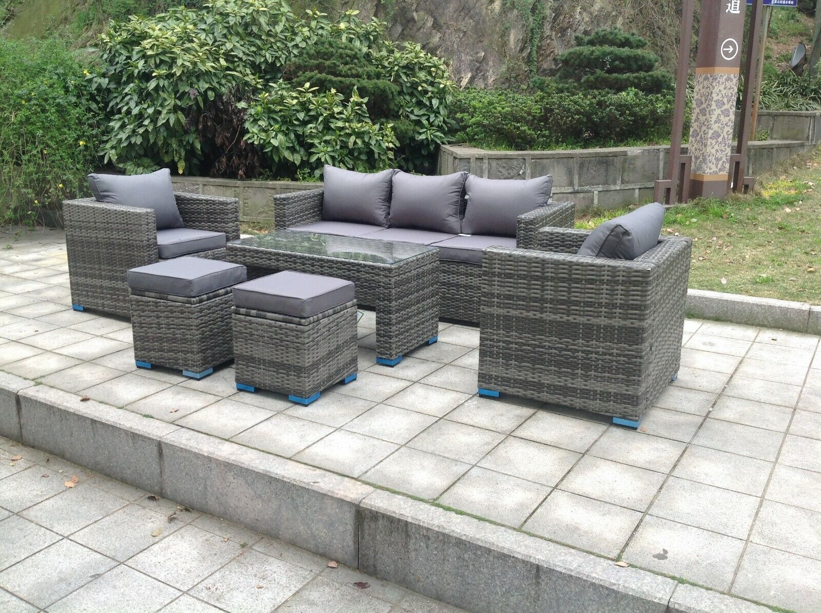 Garden Furniture - Wicker Rattan Garden Furniture Sofa Sets Outdoor Patio Coffee Table With Stools