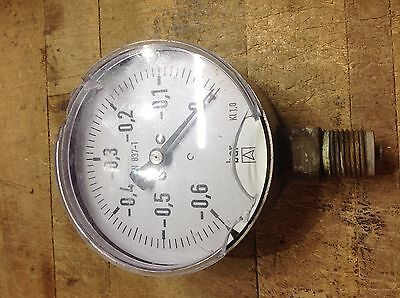 4 Inch Vacuum Gage 0 To -0.60 Bar En 837-1 Kl 1.0 Process Equipment Cracked