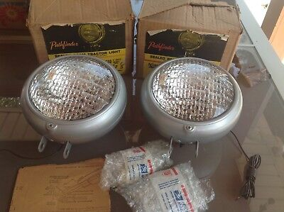 Early Pair Nib Tractor Pathfinder Auto Lamp No.600 6volt Vintage Light Bracket