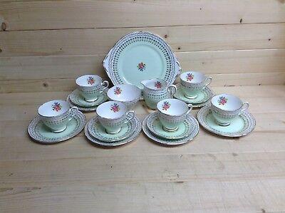 Royal Stafford 19 Piece Green Floral Tea Set