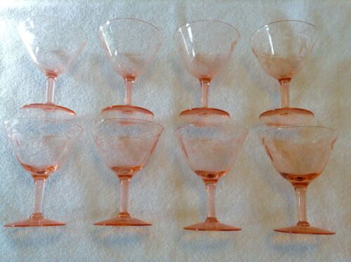 8 matching Pink Depression Glass champagne glasses goblets WHEEL CUT FLOWERS