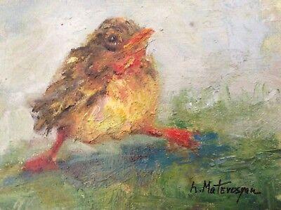 "Original Impressionism Oil Painting 5""x7"" Bird Artist Signed"