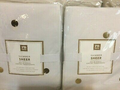 Gold Shimmer Curtains (Pottery Barn Teen Two (2) Shimmer  Sheer Curtains 50x84 White & Gold)