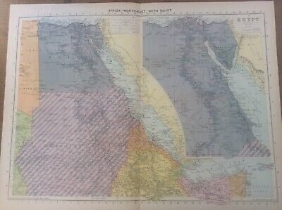 Vintage Antique 1939 Philips Map 20x15 Africa North East with Egypt