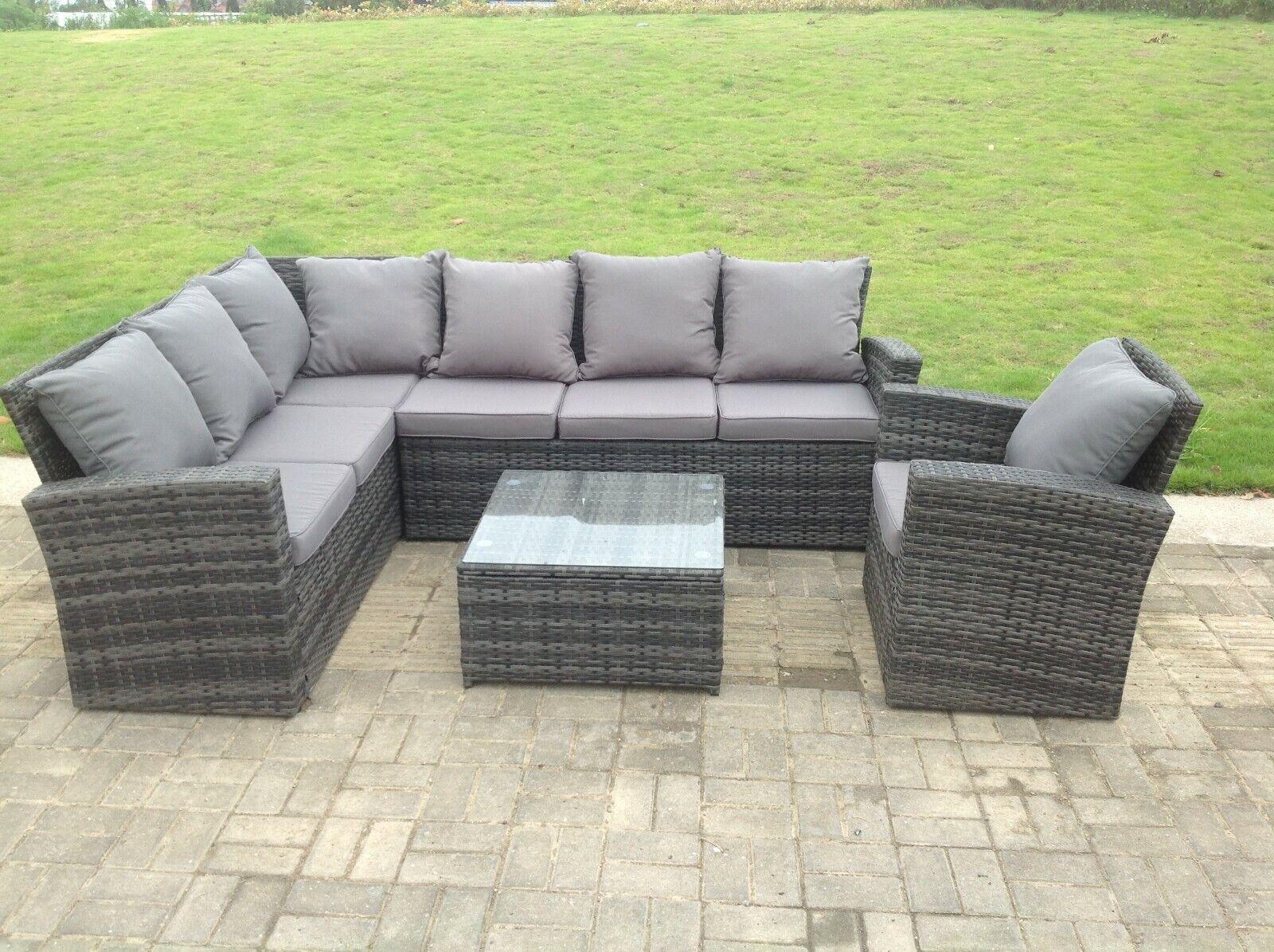 Garden Furniture - Grey Wicker Rattan Garden Furniture Sets Corner Sofa Outdoor Patio Coffee Table