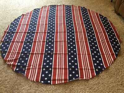 Celebrate Americana Together American Flag Print 68 in Round Tablecloth New