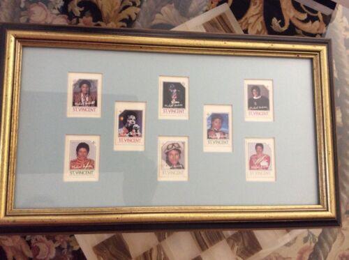Michael Jackson St Vincent Stamps collection of 8 framed