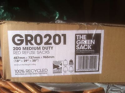 BOX OF 200 MEDIUM DUTY RECYCLED RED BIN LINERS 18X29X38-THE GREEN SACK COMPANY