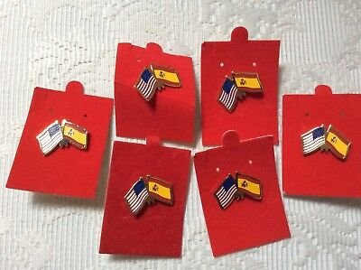 Lot of 6 U.S. and Spain crossed Flag lapel pins