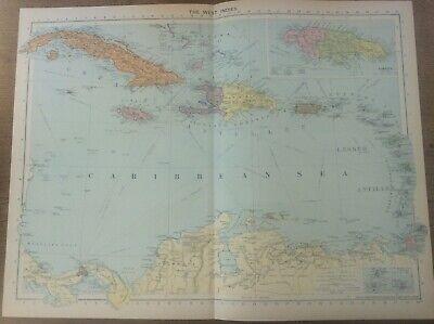 Vintage Antique 1939 Philips Map 20x15 West Indies Jamaica
