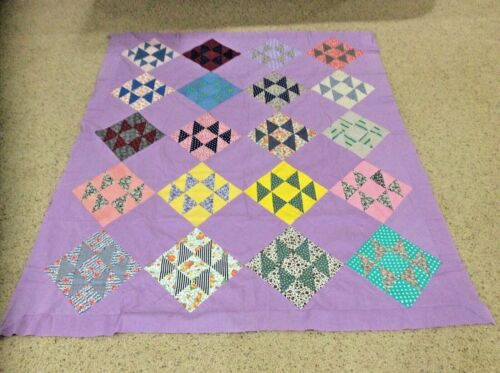 Vintage (1920s-1930s) Fabric Quilt Top Hand Stitched  77 X 66  Out Of Storage
