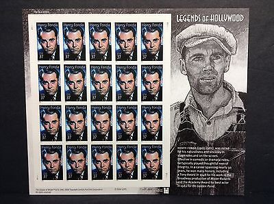 3911 LEGENDS OF HOLLYWOOD HENRY FONDA  FULL MINT SHEET OF 20  POST OFFICE FRESH