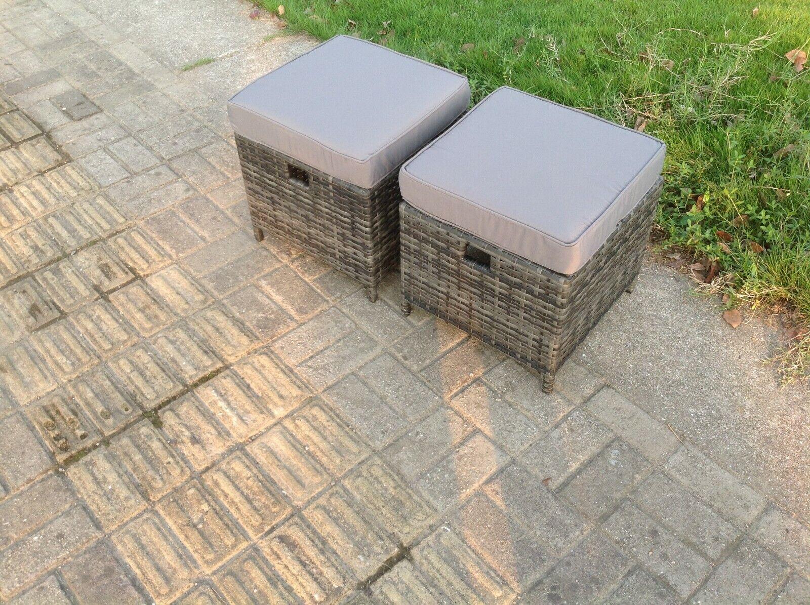 Garden Furniture - 2 PCS Small Rattan Footstool With Cushion Grey Patio Garden Furniture