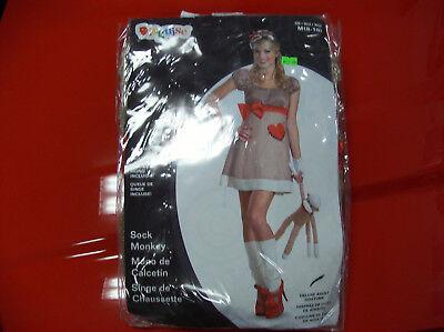 SOCK MONKEY DRESS WOMEN HALLOWEEN COSTUME MEDIUM (Halloween Costumes Sock Monkey)