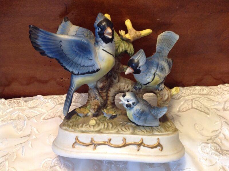 Large Ceramic Porcelain Blue Jay Family Figurine