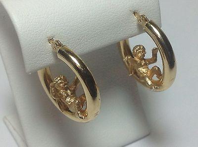 Vintage 3-D ANGEL CHERUB 14K Yellow Gold Hoop Earrings, 3.42 Grams