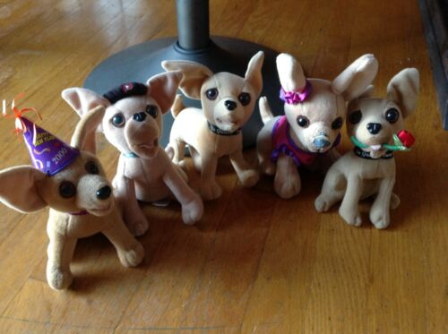 Vintage Taco Bell Applause Official Chihuahua Plush Stuffed Dog Set Lot