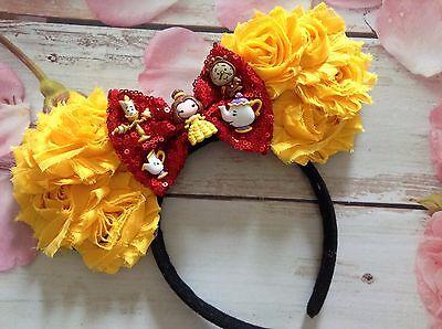 Beauty and the Beast Mickey Mouse Ears Headband-Disney World,Disneyland-Belle - Disney Mouse Ears Headband
