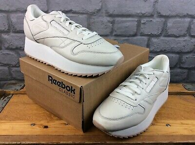 REEBOK LADIES UK 5 EU 38 CLASSIC LEATHER DOUBLE TRAINERS WHITE PINK...