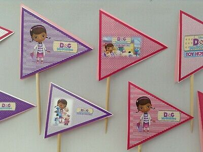 Doc mcStuffins inspired 24 cupcake toppers-paper decor-wood stick-pennants flags - Doc Mcstuffin Cupcake Toppers