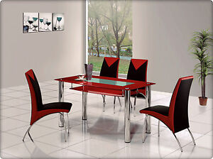 rovigo large glass chrome dining room table and 6 chairs