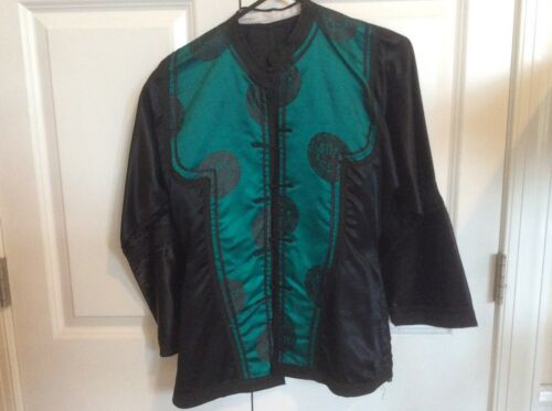 Handmade vintage silky Chinese jacket black and green