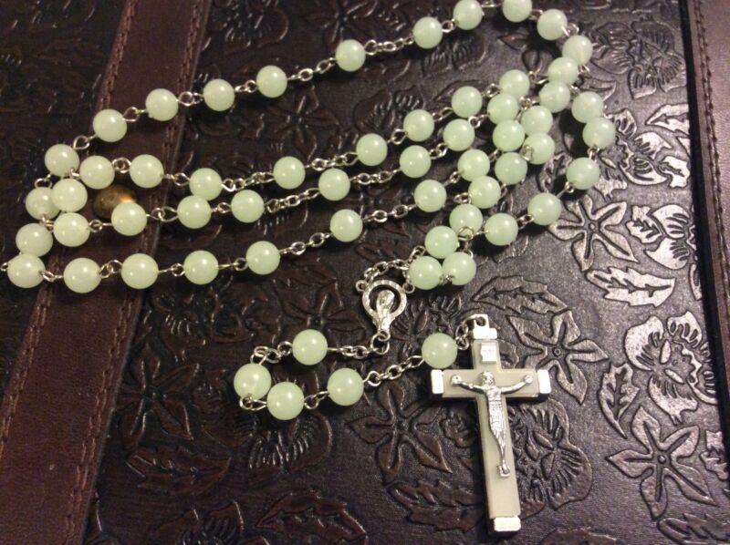"Blessed Italian Seafoam Green Phosphorescent Rosary 23 1/2"" long"