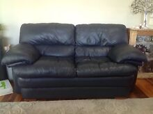 Navy Leather Lounge Suite Brookwater Ipswich City Preview