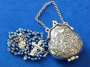 Custom Purse Locket ROSARY Blue Glass Pearls Sacred Heart Trinity Cross Metal