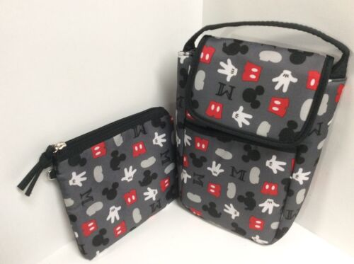 Disney Baby bottle holder and Mommy pouch gray red black white H16