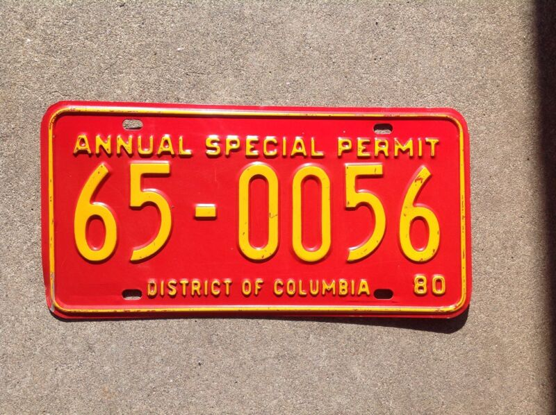 "1980  DISTRICT OF COLUMBIA - ""ANNUAL SPECIAL PERMIT"" - LICENSE PLATE"