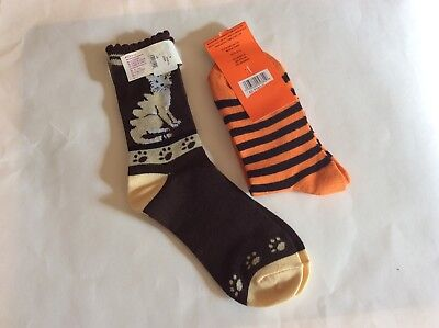 2 PAIRS WOMENS NOVELTY SOCKS * CATS/HALLOWEEN CATS *FUN & CUTE! *BROWN/ORANGE