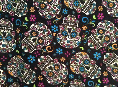 fleece Fabric Dia De Los Muertos Calaveras Sugar Skulls 60