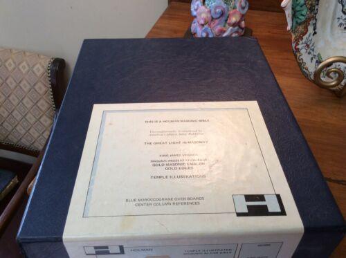 """Masonic Alter Bible"" In Box Excellent Holman KJV 6030M Temple Illustrated"