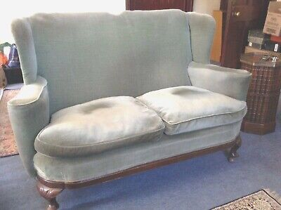 GOOD  Antique High back and Wing Two Seater Sofa with Feather Cushions Wood legs